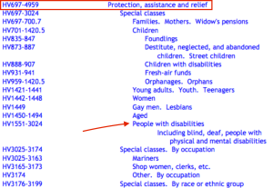 A screenshot from the HV classification outline with 'HV697-4959 Protection, assistance and relief ' highlighted in red and 'HV1551-3024 People with disabilities Including blind, deaf, people with physical and mental disabilities' indicated by a red arrow