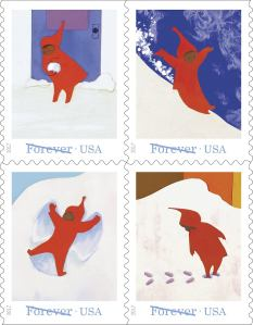 set of 4 forever stamps of Ezra Keats Snow Day